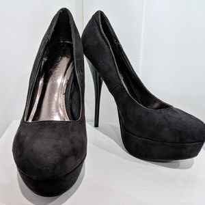Black Faux Suede Platform Heels Shoes Size 7
